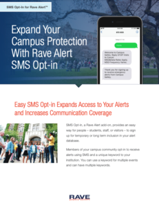 rave alert higher ed sms opt-in resource preview